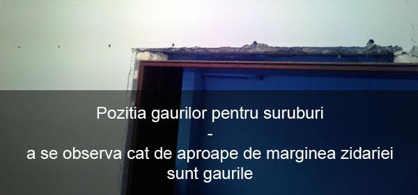 pozitia gaurilor pentru suruburi pentru usi glisante Porta